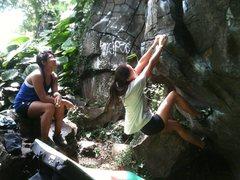 Rock Climbing Photo: K on the Warm-up Boulder
