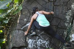 Rock Climbing Photo: Down-climb on the detached left boulder