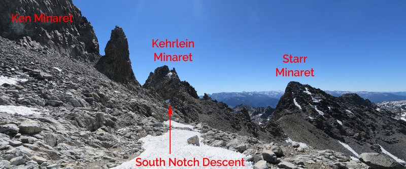 This is one of a couple of possible descents, and the one that will take you back to Minaret Lake.<br> <br> From Ampitheater Lake, traverse behind Ken Minaret at lake level. Head for South Notch, just south of the Minaret.