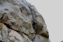 Rock Climbing Photo: Great 5:11 crack, far right of the Bird mess. Bill...