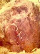 Rock Climbing Photo: Pathfinder Ranch area,  Romancing the Stone V-5 FA...
