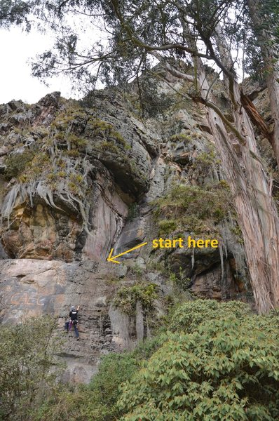 Rock Climbing Photo: showing start location