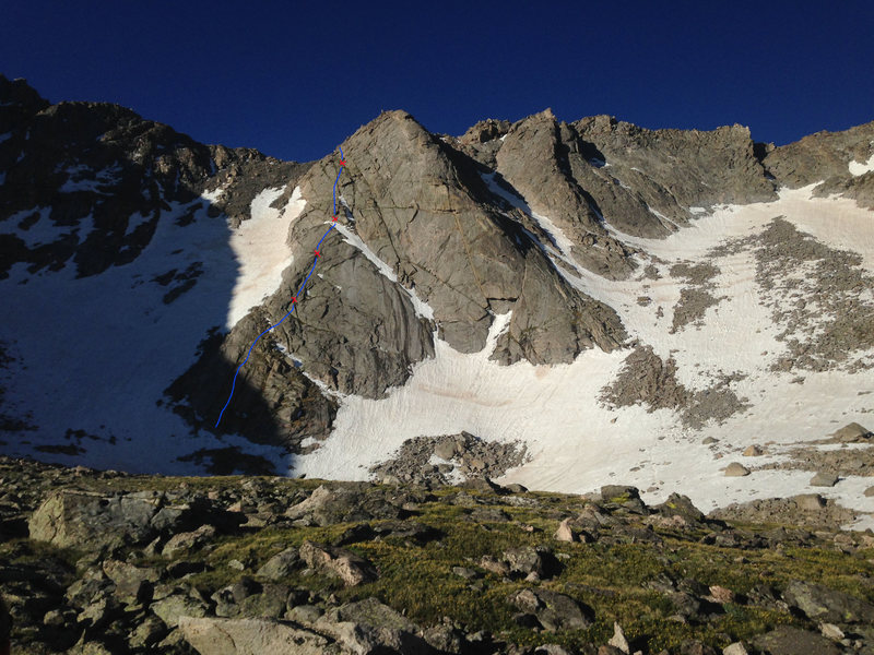 Rock Climbing Photo: First apron, left side. Belay spots (X) are approx...