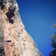 Rock Climbing Photo: Over the roof and heading for the crux