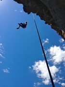 Rock Climbing Photo: Lowering off this steep 5.10.  No gimme for the gr...
