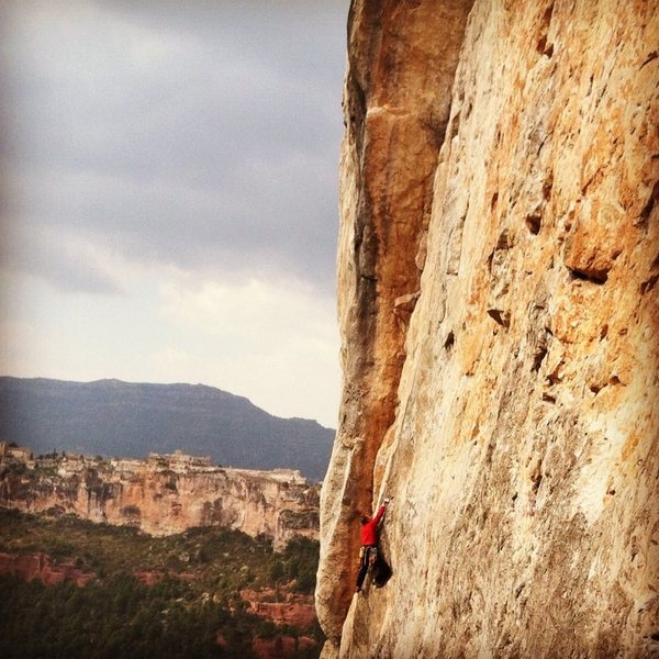 Great climbing at El Falco with Siurana in the background.