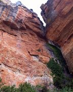 Rock Climbing Photo: Crosta Panic is the white chalked up line left of ...