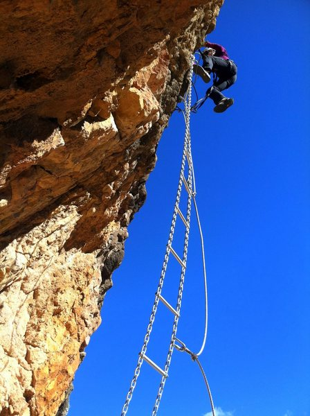 "Rest day fun on a ""modern"" via ferrata at nearby Sant Llorenc de Montgai."