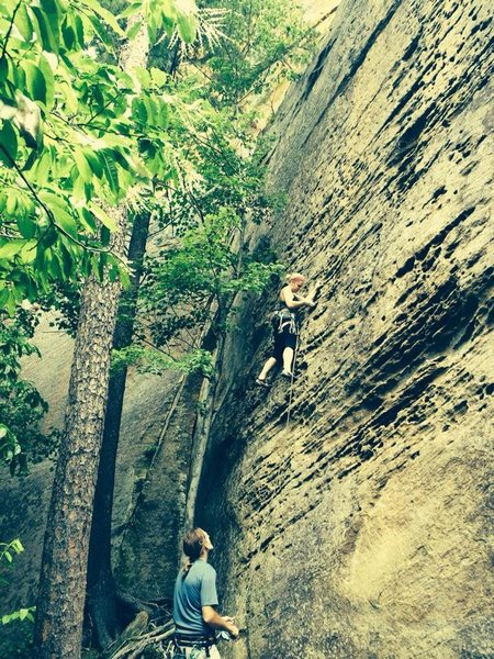 When you're climbing with a friend who has permission to climb at roadside, you HAVE to go get after it. :)