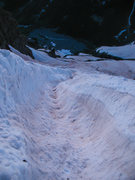 Rock Climbing Photo: Bell Cord couloir in mid/late June, 2014. Big runn...