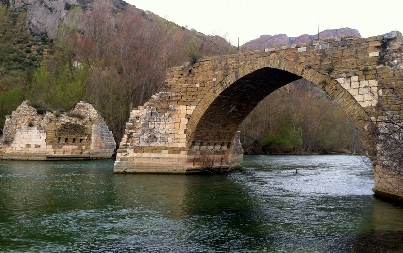 Bridge over Rio Segre destroyed during the Spanish Civil War.
