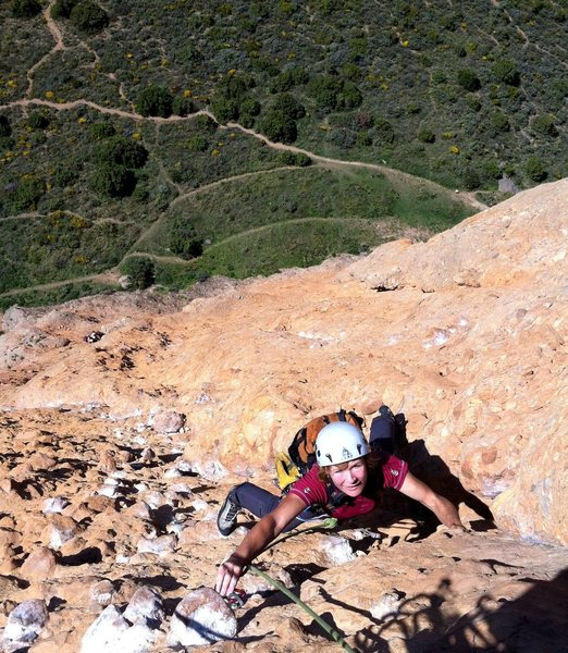Rock Climbing Photo: Steep patata pulling midway up Murciana.