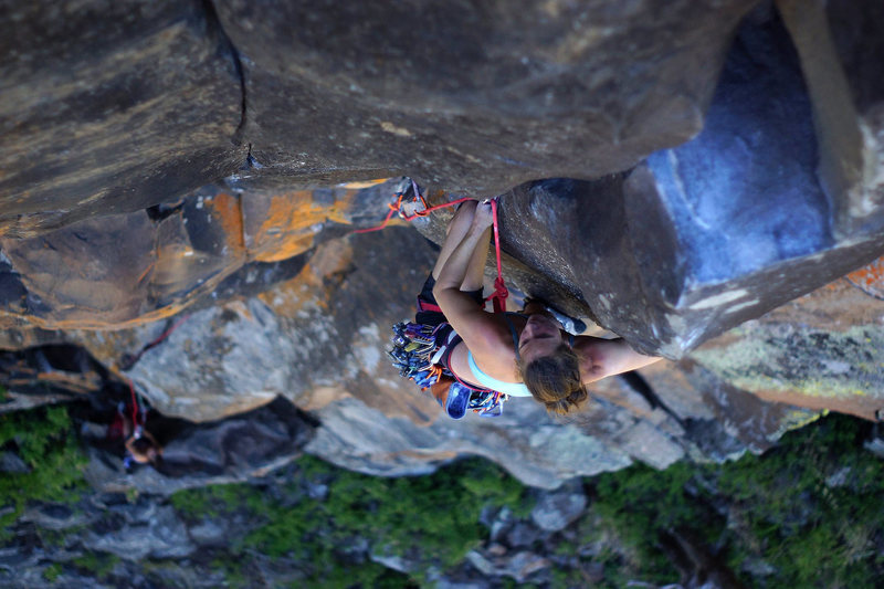 Tamara digging into the dreamy crux section.