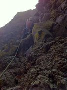 Rock Climbing Photo: Just before the crux. You can see the poor rock qu...