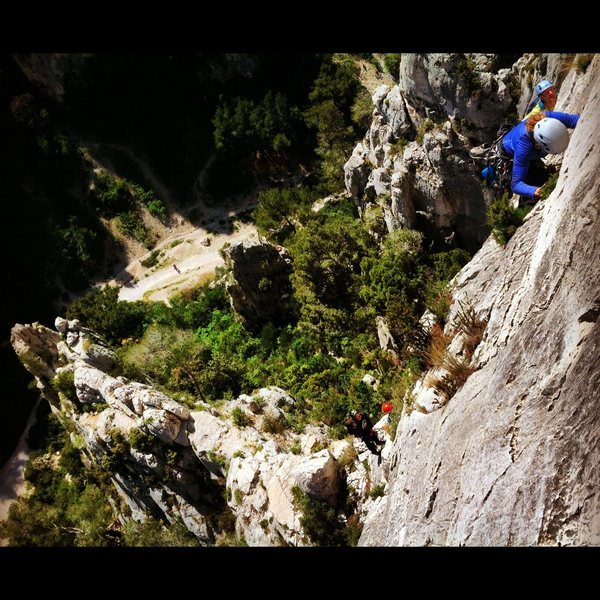 "Rock Climbing Photo: Looking down on ""Saphir"" from the second..."