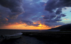 Rock Climbing Photo: Sunset over the Adriatic from Starigrad, the close...