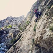 Rock Climbing Photo: Starting up the crux pitch.
