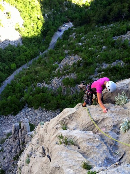 """""""Nosorog"""" (5.7), one of many fun, moderate and easily accessible multi pitch climbs."""