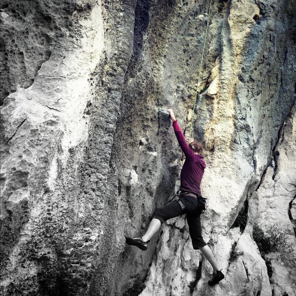 """""""Inox"""" (5.10c) is just left of the souvenir shop.  Steep, varied climbing with an awesome finish."""