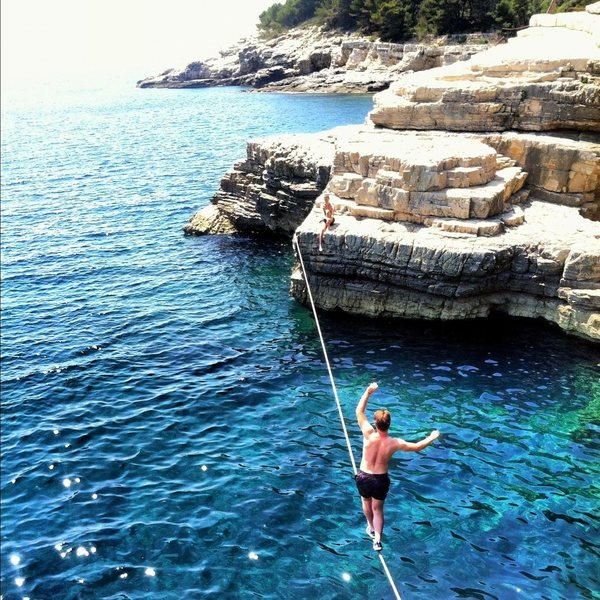 Rock Climbing Photo: Deep water slack line.