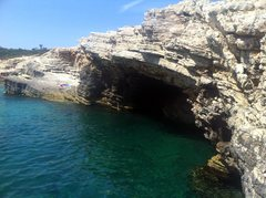 Rock Climbing Photo: The steep DWS cave at Kap Kamenjak.
