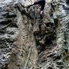 "Climbing ""Popeye"" at Crni Kal."