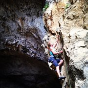 Rock Climbing Photo: Moderate warm up at the big cave, with 5.14s lurki...