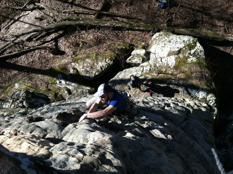Brendon Mantooth Smith leading Chris's Climb
