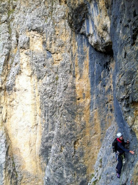Following the traverse (7th pitch) on Via Rossi-Tomasi