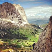 Rock Climbing Photo: Climbing on the First Sella Tower, with Sassolungo...