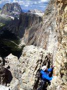 Rock Climbing Photo: Nearing the top of Piz Pordoi.  Piz Ciavazes and S...