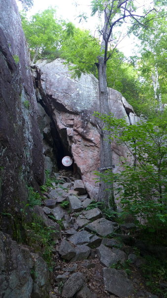 Rock Climbing Photo: Cave wall  Bolt Line no.3 is just on the face left...