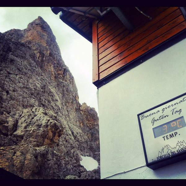 A cold day on the Sassolungo.  Luckily the refuge has good espresso.