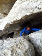 Rock Climbing Photo: Early season bergschrund crux at the start of the ...