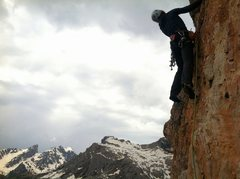 Rock Climbing Photo: The second traverse pitch on Diretta Dimai.