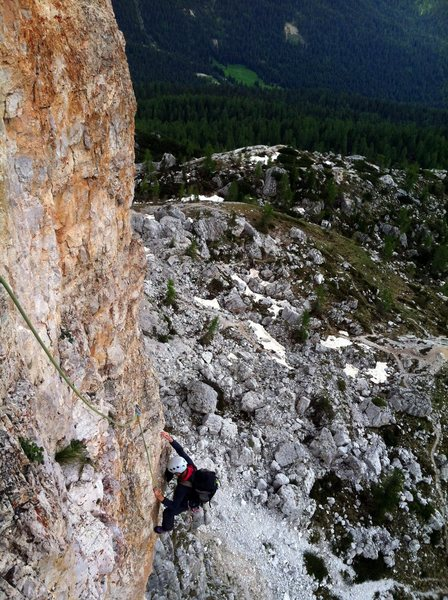Pitch 4 on Diretta Dimai.  Steep climbing on good, well protected rock.