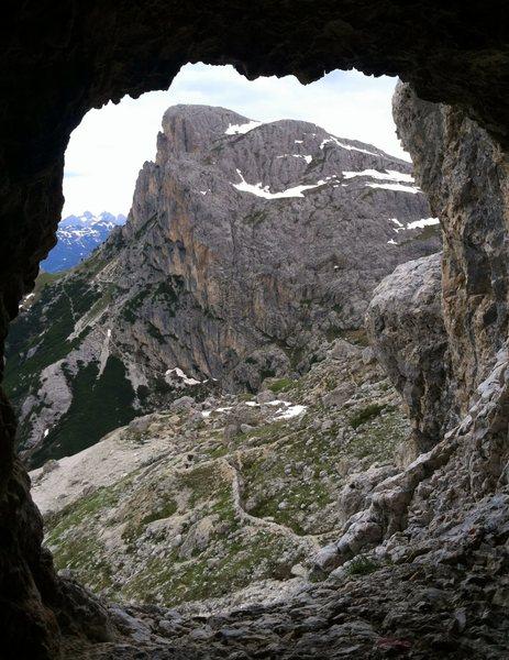 Sass di Stria seen from WW1 tunnel dug into Piz Lagazuoi.