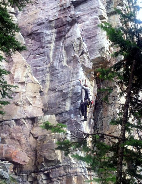 Climbing at Trailside.  Can't remember the route name, it's a good one though.