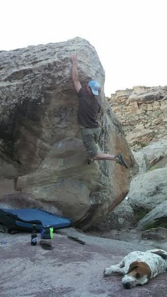 Rock Climbing Photo: Huge reach to the nose!