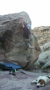Rock Climbing Photo: Big reach.