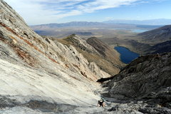 Rock Climbing Photo: Wide angle view looking down the Mendenhall Couloi...
