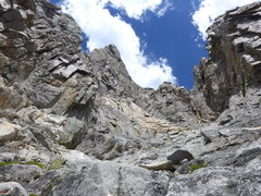 Rock Climbing Photo: more easy scrambling up the chute on excellent roc...