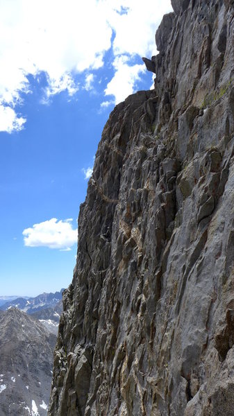 Rock Climbing Photo: ramp I took to gain the ridge (ends at the finger ...
