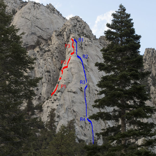 Premier Route 5.10c or 5.8 A0 - Pitches and Rappels Marked - The new bolts make the Rap line super sure.  It is a rope stretcher. Double 60's to get down.  Beware rope eating crack at the start of R3.