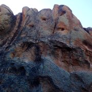 Rock Climbing Photo: The route starts in the thin crack on the right si...