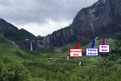 Rock Climbing Photo: Location of the walls relative to the falls.