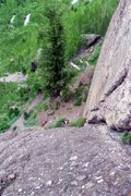Rock Climbing Photo: Looking down at the base of Ame's Way, by the larg...
