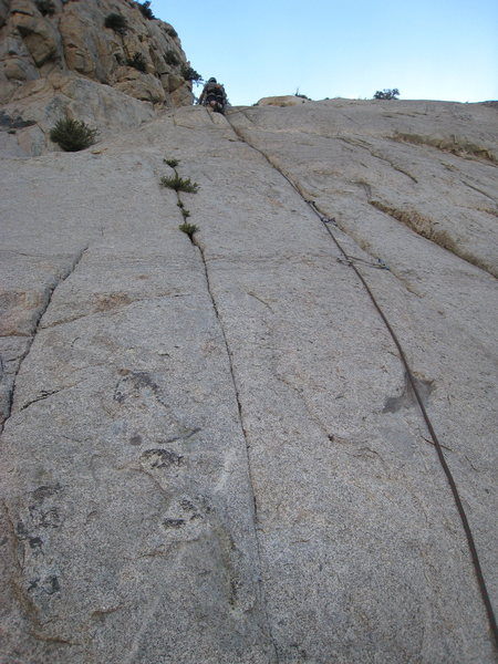 Climbing the initial crack.