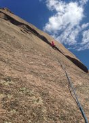 Rock Climbing Photo: P1. The final few bolts trend right and start to g...