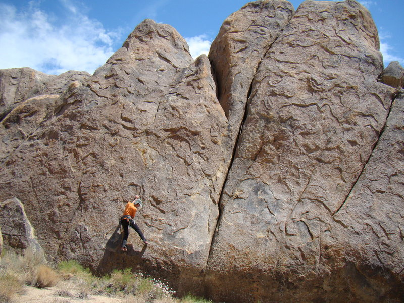 Rock Climbing Photo: Slab traverse on Muffin Top Blues